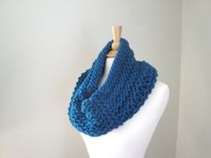 Chunky Cowl Scarf Teal Blue Green Hand Knit Super by Girlpower