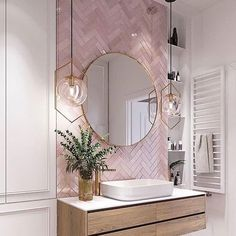 Elegant and luxurious bathroom design ideas for stylish decor -. - Elegant and luxurious bathroom design ideas for stylish decor – - Pink Bathroom Tiles, Pink Tiles, Modern Bathroom, Pink Bathrooms, White Tiles, Dream Bathrooms, Master Bathrooms, Bathroom Wallpaper Pink, Pink Bathroom Vintage