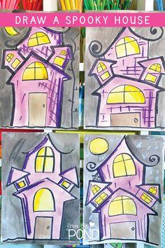 Spooky House Drawing – Perfect for Halloween – Stephanie Henderson – Art Halloween Art Projects, Classroom Art Projects, Theme Halloween, Halloween Drawings, Cool Art Projects, Art Classroom, Halloween Illustration, Halloween Candy, Halloween 2020