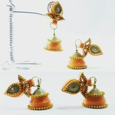 These days planned to design some #traditional #earrings #studjhumka #design in #quillingart. These #jhumka are of #two colors decorated with #double #ballchain  How are these earrings??
