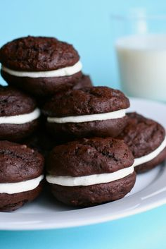 chocolate whoopie pies by annieseats-the fluff in the filling will hopefully be like my mom's!