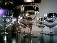 Dazzling Set Of Six Dorothy Thorpe Shrimp Cocktail And Liner Silver Banded Dish Set. $95.00, via Etsy.