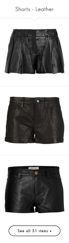 """Shorts - Leather"" by giovanna1995 ❤ liked on Polyvore featuring black, Leather, shorts, high-rise shorts, loose high waisted shorts, stretchy high waisted shorts, leather shorts, pleated shorts, bottoms and short"
