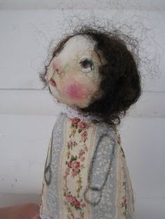 "Aren't these the sweetest lil dolls? LOVE Karen Jones Milstein's art work and dolls. I have one of her angels on ""rescued"" wood, and I love her :)"