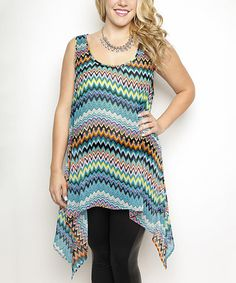 Love this Aqua & Teal Chevron Sidetail Tank - Plus on #zulily! #zulilyfinds