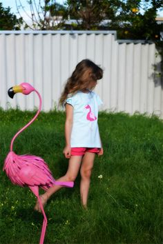 Handstitched Pink Neon Dot Flamingo Applique Australian Made Tshirt Size 8 | Monkeys Over The Moon | madeit.com.au