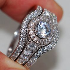 d87dbfc3c4f Vintage 10kt White Gold Filled With Inlay 5a Zircon Jewelry Wedding Rings  sets For Women 3