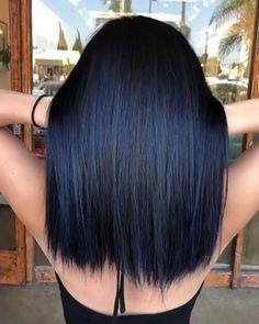 Hair color for black hair Hair tint Dark blue hair Hair Blue ombre hair Dye Ombre Hair Color, Hair Color For Black Hair, Cool Hair Color, Black Hair Blue Tint, Dyed Black Hair, Blue Tinted Hair, Color Black, Black Hair With Blue Highlights, Blue Brown Hair