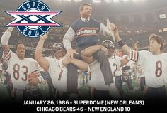 Super Bowl XX - Chicago Bears 46 - New England Patriots 10  #NBCSports