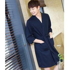 RUILINGSHA Lovers Summer Water Absorption Fashion Towel Waffle Bathrobe  Sexy Kimono - Men   Women a2199d001