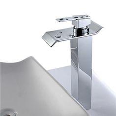 Robinet lavabo contemporaine en laiton - fini Chrome (grand)