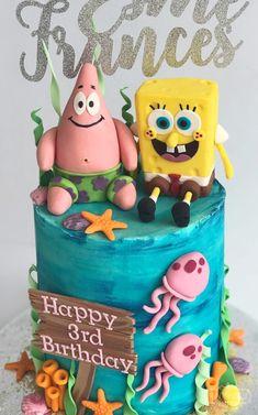 Happy Birthday Cake Photo, Funny Birthday Cakes, Birthday Cake Pictures, Homemade Birthday Cakes, Birthday Cake Girls, Birthday Cards, Pastel Mickey, Spongebob Birthday Party, Birthday Cake Decorating