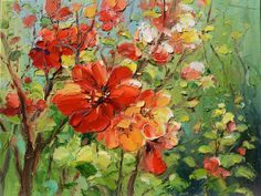 ORIGINAL Oil Painting Summer Joy 23 x 30 Flowers Palette Knife White Bright Colorful Joy Red Orange Green Branch Textured ART By MARCHELLA