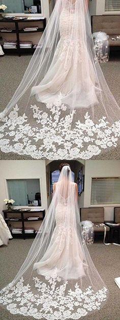 Venusvi Lace Edge Cathedral Length Wedding Bridal Veil+Comb (Ivory)