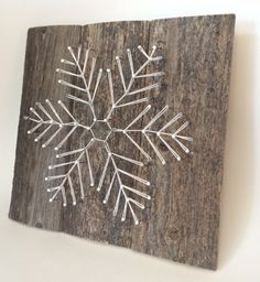 rustic Snowflake string art. A unique Wedding, Anniversary, Birthday, Christmas, and house warming gift.