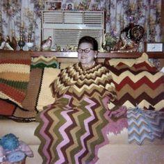 Aunt Bonnie in full afghan camo.