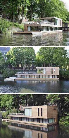 maison sur l'eau à plusieurs niveaux, bardage bois massif et grandes baies vitrées #maison #insolite #architecture #vivreautrement