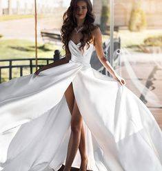 Satin strapless dress with a split and corset tie back. Available for rent. Email us in order to rent. Bridal Outfits, Bridal Dresses, Wedding Gowns, Sexy Outfits, Thing 1, Yes To The Dress, Bridal Beauty, Formal Gowns, Beautiful Bride
