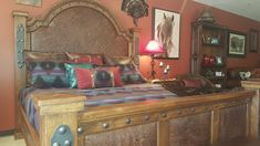 Handcrafted from solid alder wood and distressed to give it a more rustic look! Bed shown has Early American stain with brown glaze and a brown floral embossed leather in foot and head boards. Lodge Furniture, Western Furniture, Custom Furniture, Bedroom Furniture, Bedroom Colour Schemes Warm, Bedroom Colors, Western Bedding, Head Boards, White Curtains