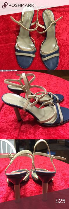 Via Spiga cream, tan  and blue strappy sandals Cream, tan and blue sandals. 3 straps across front and ankle strap. Real cute for work or play 3 inch stool heel. Made in Italy needs TLC ❤️👠 Via Spiga Shoes Sandals