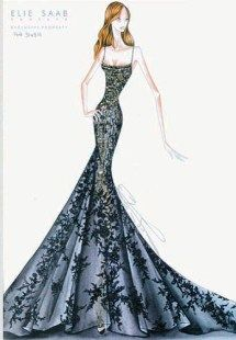 Elie Saab sketch of a lace embroidered gown