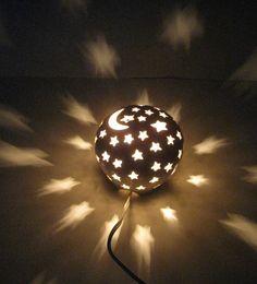 Ceramic Nursery Night Light Electric Lamp Lantern Luminary Moon and Stars Starry Nights