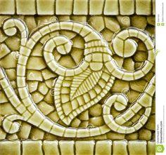 pottery leaf and vine design | Old heritage Art Nouveau imitation mosaic ceramic tile in an olive ...