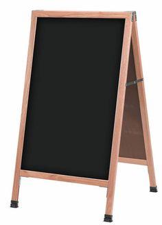 21 x 34 A-frame Chalkboard, Black Wet Erase Surface, 2 Sided - Red Oak