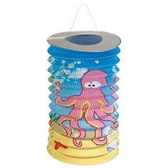 Treklampion oceaan 25 cm. Papieren treklampion met een zeedieren print. De papieren lampion is gemaakt van brandvertragend materiaal.