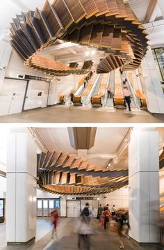 Artist Chris Fox has repurposed a historic wooden escalator set into a pair of spectacular sculptures made from recycled materials.