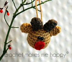 Crochet Makes Me Happy!: Crochet Pattern - Red Nose Reindeer