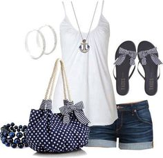 White blouse, slippers, hand bag and shorts for ladies