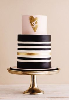 A pink and gold cake table featuring black and white stripes, gold glittering hearts and sparkling details. Perfect for a birthday, bridal shower or Valentine's Day. Created by De la Creme Creative Studio. 40th Birthday Cakes, Birthday Cakes For Women, 30th Birthday Parties, Cakes For Men, 30th Cake, 30 Birthday, Birthday Wishes, 30th Party, Happy Birthday