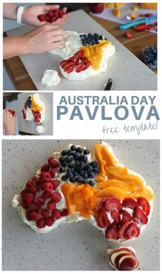 A pavlova shaped like Australia is the perfect addition to your Australia Day party.  #australiaday
