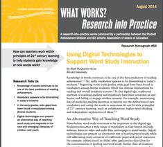 Digital tools and technologies present alternative ways of teaching word study and spelling, allowing for differentiation, personalization and collaboration. Scott identifies a number of apps and tools that teachers can add to their repertoire but also provides information on selecting appropriate technologies to supplement traditional learning practices.
