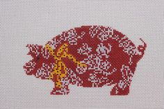 Cooper Oaks Design by Linda Ragno Red Pig Hand Painted Needlepoint Canvas #CooperOaksDesgins