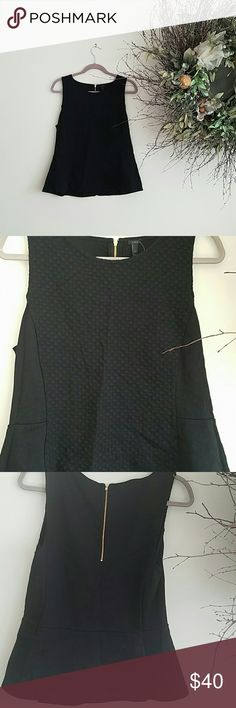 J.Crew fit and flare top Black fit and flare with black circles down the front of the shirt. New with tags J. Crew Tops