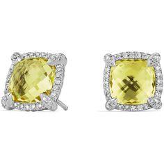 David Yurman 9mm Ch?telaine& Stud Earrings with Diamonds ($1,250) ❤ liked on Polyvore featuring jewelry, earrings, lemon citrine, stud earrings, diamond earrings, bezel diamond earrings, diamond stud earrings and bezel earrings