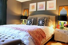 Master Bedroom - A great look in this bedroom, and we like the addition of the mirrors behind bedside lamps.