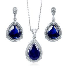 BERRICLE Sterling Silver Simulated Blue Sapphire CZ Halo Earrings and Pendant Necklace Set ** You can find out more details at the link of the image.