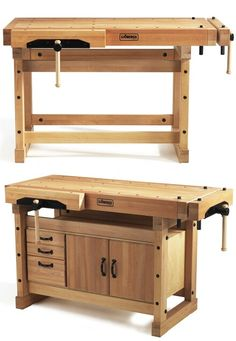Beautiful old-school workbench. Swedish company Sjöbergs adds slightly-modernizing updates, like steel-cored, rubber-wrapped bench dogs (with half-round tops to accommodate angled workpieces), cork jaw protectors for the vise's clamping surface, and preci Woodworking Workbench, Woodworking Crafts, Woodworking Tools, Workbench Top, Workbench Ideas, Intarsia Woodworking, Woodworking Workshop, Custom Woodworking, Workbench Height