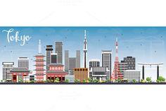 #Tokyo #Skyline with Gray Buildings by Igor Sorokin on @creativemarket