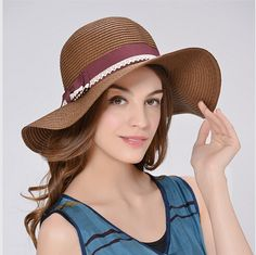UV protection wide brim sun hat for women bow decor straw hats