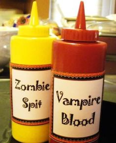 Halloween Zombie Spit and Vampire Blood. Pop any healthy sauce into these bottles and the kids will have Halloween Zombie Spit and Vampire Blood. Pop any healthy sauce into these bottles and the kids will have fun while eating. Halloween Zombie, Plat Halloween, Halloween Bebes, Halloween Buffet, Zombie Party, Halloween Food For Party, Halloween Dance, Halloween Horror, Halloween Stuff