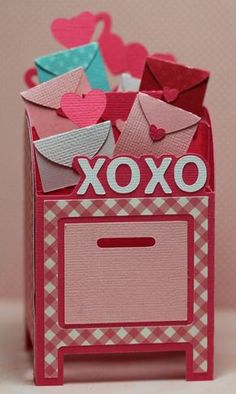 This and That: Mailbox Box Card made with SVG Cuts Valentine Day Boxes, Valentines For Kids, Valentine Day Crafts, Printable Valentine, Valentine Wreath, Valentine Ideas, Diy Valentine's Mailbox, Exploding Box Card, Pop Up Box Cards