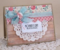 Mother's day doily scallop border woodgrain shabby card