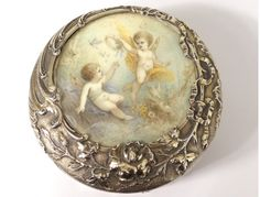 Round Box Silver Vermeil Miniature Flowers Cherubs Putti XIXth ART New | eBay