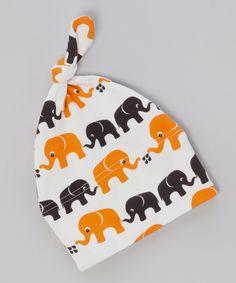 Elephant Print Orange & Brown Knot Hat - Infant by Nosh Organics
