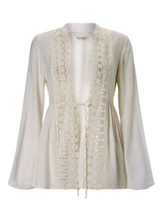 Ivory Lace Detail Shacket - Tops - Clothing - Miss Selfridge
