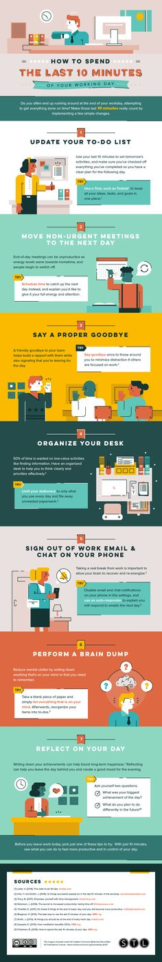 How to Spend The Last 10 Minutes of Your Working Day - #infographic #productivity